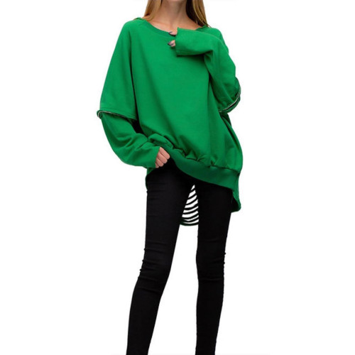 Autumn and winter solid color ripped holes and burnt flowers sexy sweater plus size women's clothing H1697