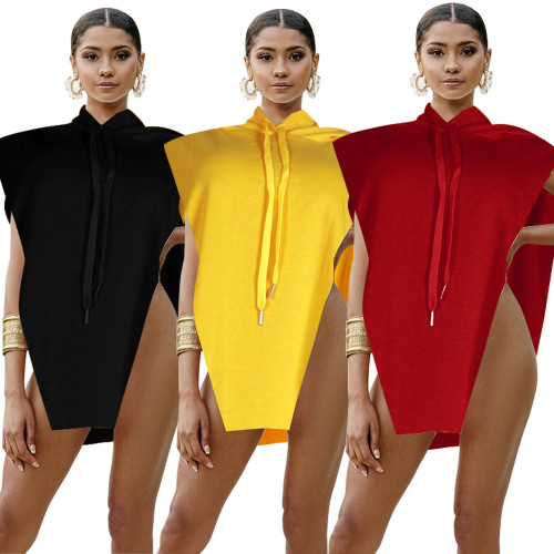 Sexy women's new style hooded sleeveless solid color sweater top F300