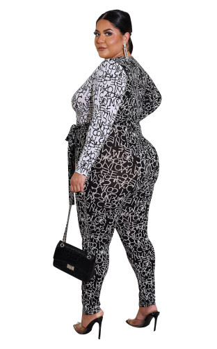 Sexy plus size women's clothing ins new fashion digital nightclub jumpsuit F282