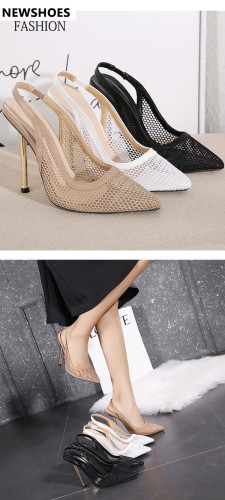 New women's shoes metal high-heeled mesh pointed toe stiletto sandals ble282-5