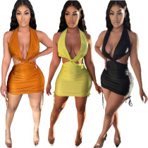New sexy women's dress with halter neck and drawstring folds bag buttocks open back LY8023