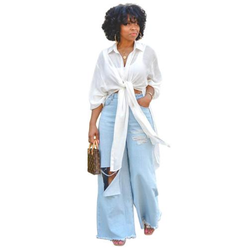 Nightclub solid color rayon button slit long shirt dress GL6397
