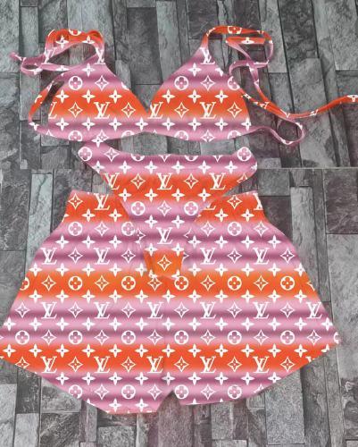 Women's Summer Printed Sexy Swimsuit Bikini Three-piece Set A8885