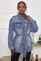 New mid-length denim jacket casual windbreaker women with belt CJ959
