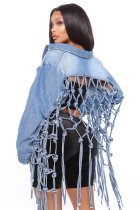 New women's denim jacket with mesh back fringe CJ958