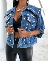 New style loose denim jacket women beaded jacket CJ957