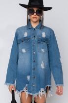 Fashion ripped mid-length denim jacket women CJ971