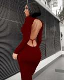 Soft pit strip sexy halter cut-out dress FFT1136