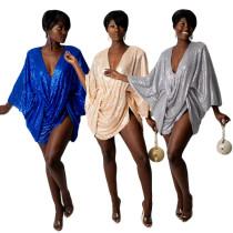 Gathered sequin sexy fashion women's dress F145-1
