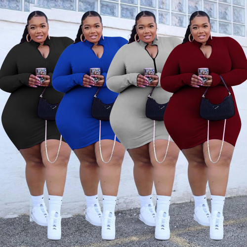 Quality fat lady plus size casual women's small pit strip solid color zipper dress PH13263