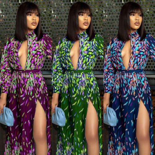 Women's Digital Printed Halter Tube Top Legless Belt Fashion Sexy Dress SZ8171
