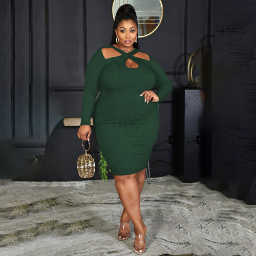 Autumn and winter fat lady plus size sexy temperament small pit strip solid color dress PH13257