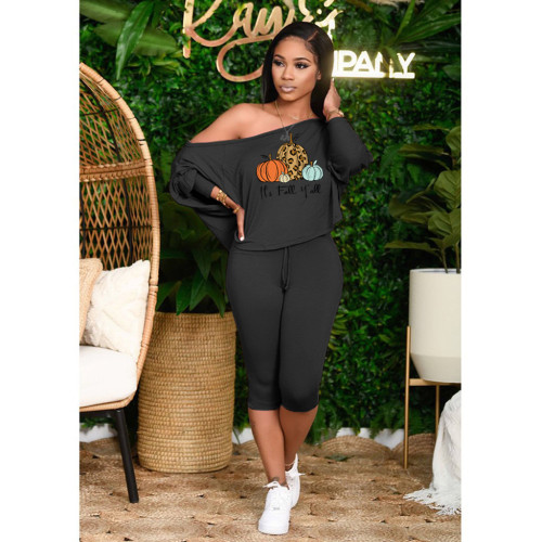 Sloping shoulder loose plus size women's casual suit Halloween two-piece suit DY1092