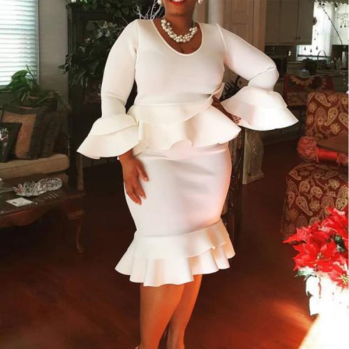 Autumn and winter ruffled round neck one-step skirt dress AQ19028