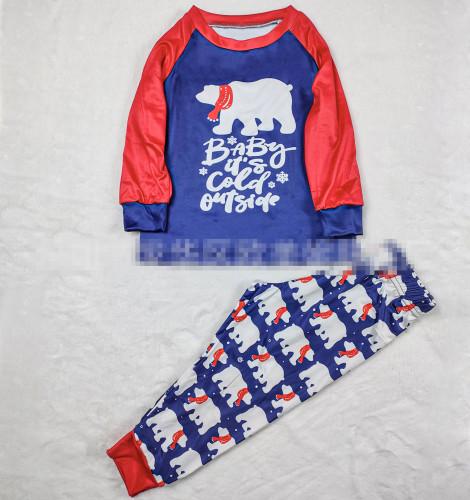 New Christmas Parent-child Set Bear Printed Home Wear Pajamas Two-piece Set OML113-2