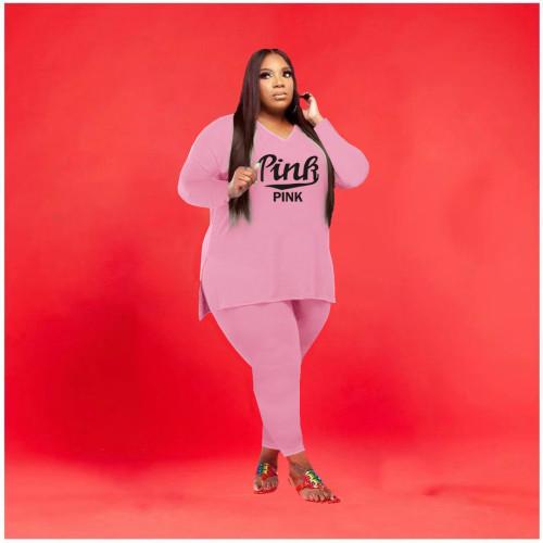 Plus size women's fashion two-piece printed color set Q77263