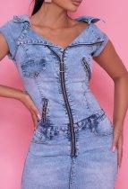 Slim stretch sexy personality zipper denim bag hip dress one-piece mid skirt one-step skirt JLX6918