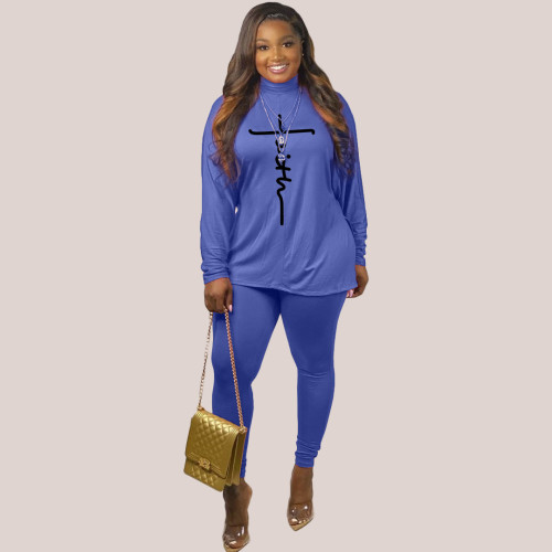 Fashion women's printed long-sleeved casual suit Q77286