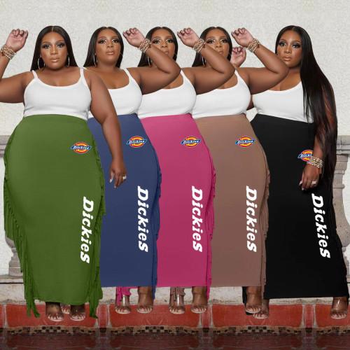 Double-sided brushed fabric plus size women's fringed skirt Q77291