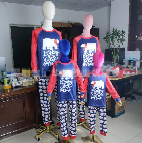 New Christmas Parent-child Set Bear Printed Home Wear Pajamas Two-piece Set OML113-1
