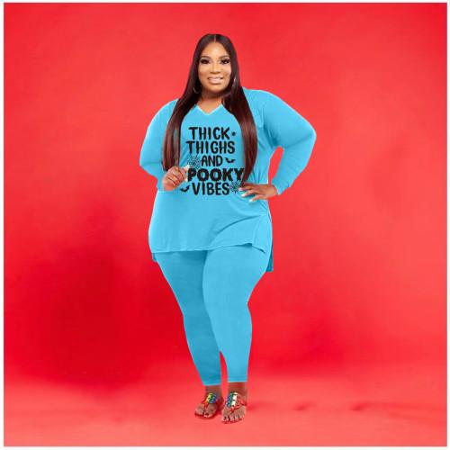 Plus size women's Halloween print casual two-piece suit Q77269