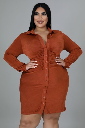 Oversized Women's Shirt Collar Short Skirt Dress Cardigan Skirt XM7005