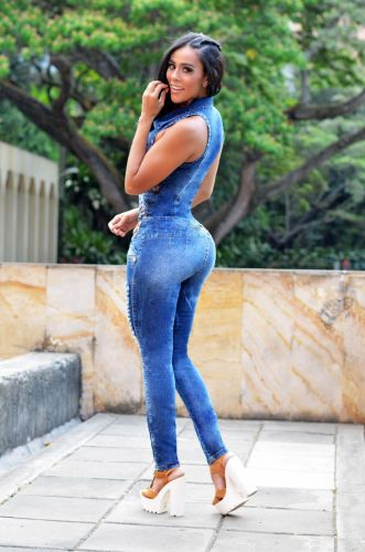 Denim slim slimming jumpsuit with white spray and hole cutout jumpsuit denim trousers JLX6898