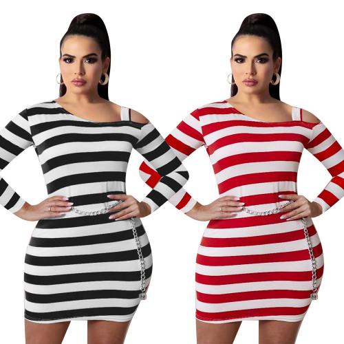 Autumn and winter striped sexy dress fat lady plus size dress female skirt L9154