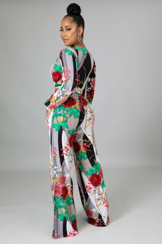 Sexy fashion digital printing V-neck women's jumpsuit SMR10686