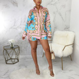 Casual fashion digital printing suit two-piece suit SMR10391