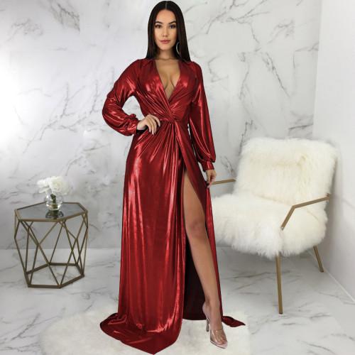 Sexy fashion evening hot stamping women's V-neck dress SMR10194