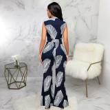 Sexy fashion digital printing sleeveless V-neck jumpsuit SMR10298