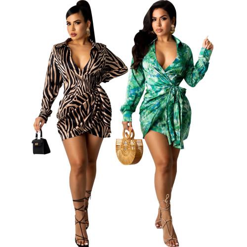Sexy Fashion Digital Printed V-neck Women's Slim Dress SMR10585