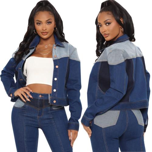 Sexy fashion short women's slim fit denim jacket top SMR10658
