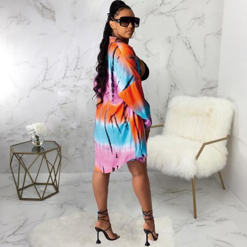 Casual Fashion Printed Multicolor Ladies Shirt Dress SMR10456