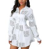 Casual Fashion Printed Multicolor Ladies Shirt Dress SMR10345