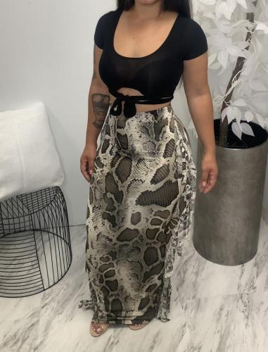 Autumn and winter new plus size women's sexy printed fringed skirt H1737