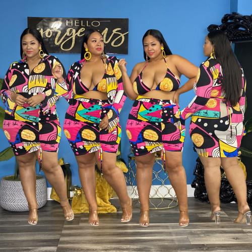 Plus size women's fashion printed bikini jacket with flared sleeves three-piece suit S90083