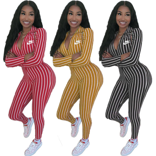 Fashion printed striped sexy invisible zipper jumpsuit Y71128