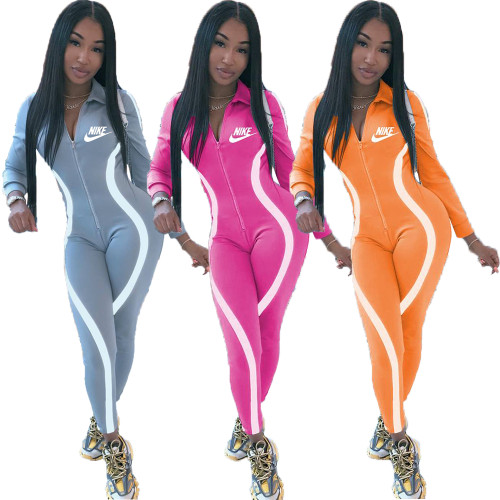 Fashion positioning printing sexy line sports jumpsuit Y71122