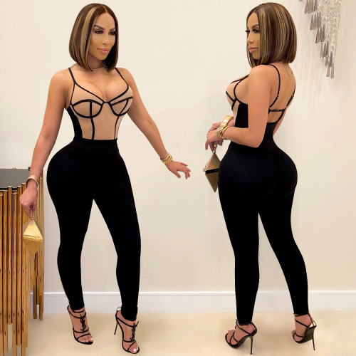Fashion stitching contrast color women's sexy suspender trousers jumpsuit C5350