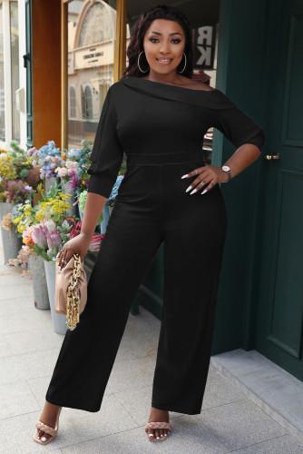 Fall/winter women's solid color strapless zipper sexy lapel oblique shoulder straight jumpsuit W9327
