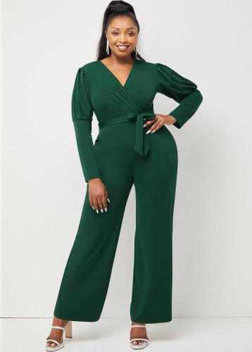 Autumn and winter solid color V-neck puff sleeves personality casual wide-leg jumpsuit W9322