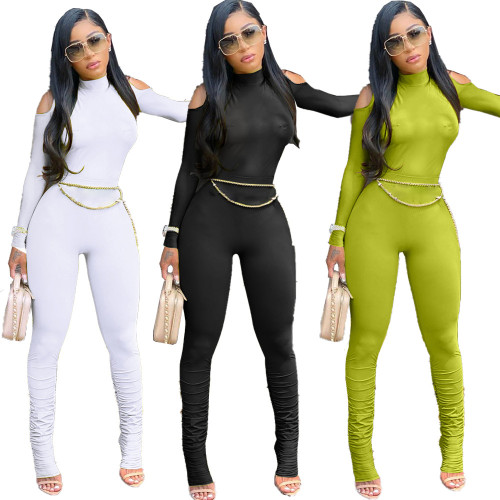 Women's sexy long pleated jumpsuit with zipper JC7029