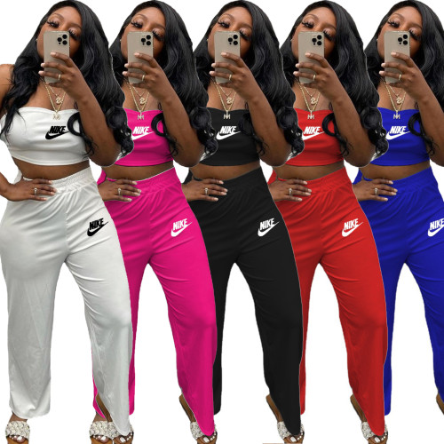 Women's Clothing Brand Brand Cross-border Source Letter Embroidered Chest Wrapped Pants Sports Suit R1188