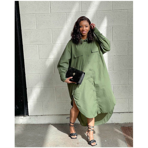 Fashion women's loose fashion army green shirt dress GT9945