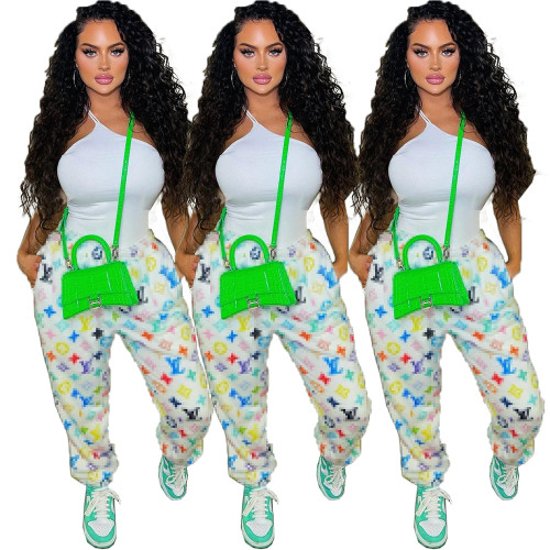 Autumn and winter nightclub trend print bouquet foot pants with pockets QY18032