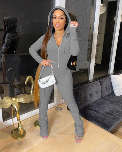New women's clothing autumn and winter pure color plus velvet zipper hooded jumpsuit A5290