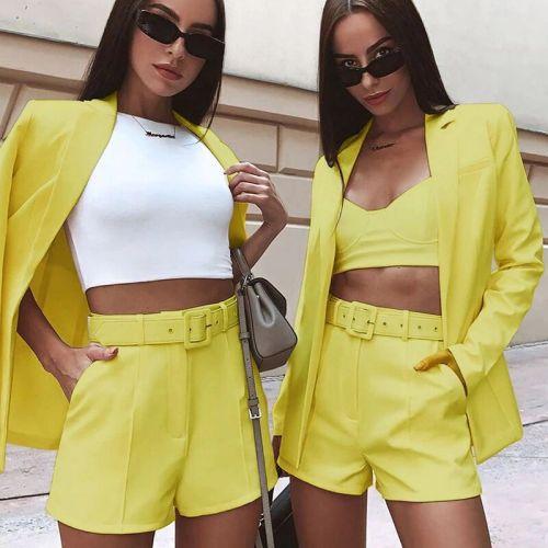 Women's autumn and winter solid color suit shorts suit (including belt) A5280