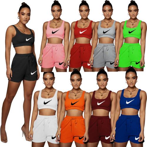 Letter print camisole shorts sports suit R1122